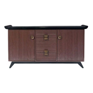 Paul Frankl Combed Wood Credenza Brown Saltman For Sale