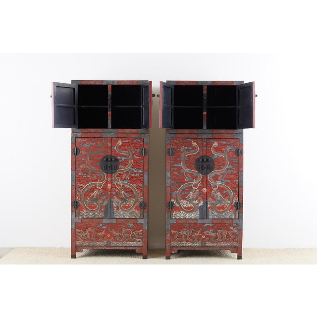 Chinese Polychrome Decorated Compound Dragon Cabinets - a Pair For Sale - Image 4 of 13