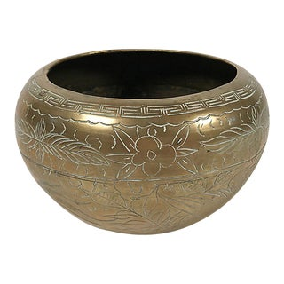 Asian Dragon & Floral Motif Brass Cachepot For Sale