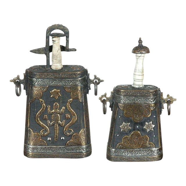 Set of Two Moroccan Antique Tribal Gun Powder Case Flask For Sale