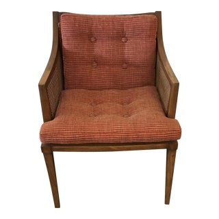 Vintage Upholstered Cane Chair