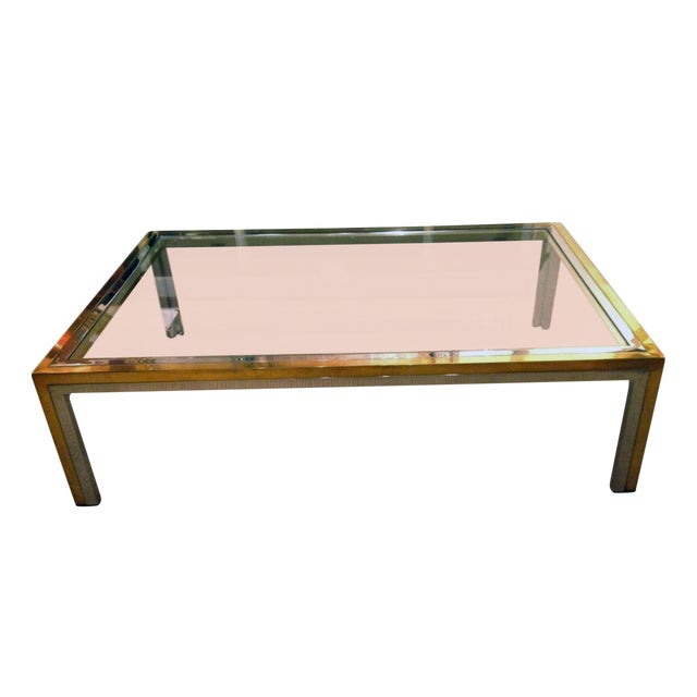Romeo Rega Mid-Century Modern Brass, Chrome and Glass Coffee Table For Sale