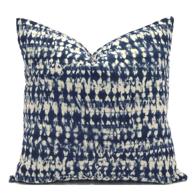 Brand new Hamilton Indigo Shibori Down Feather Pillow with the very same fabric for the reverse. Pillow has a zipper for...