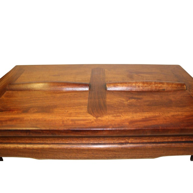 Brown Rosewood Simple Oriental Rectangular Rolling Bar Footrest Table For Sale - Image 4 of 7
