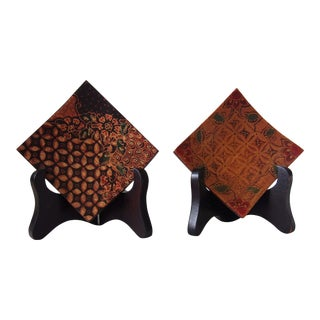 Indonesian Wood Batik Nut Bowls - A Pair For Sale