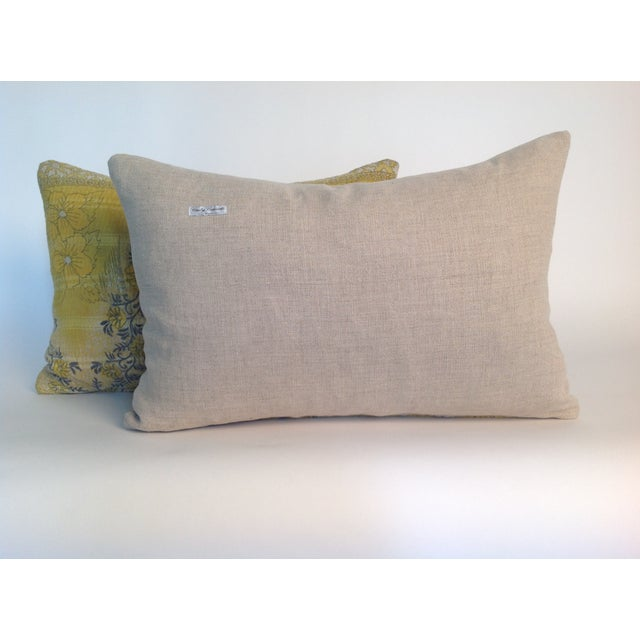 Boho Chic Vintage Yellow Kantha Quilt Pillows - A Pair For Sale - Image 3 of 4