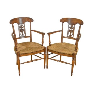 French Country Vintage Pair of Rush Seat Arm Chairs For Sale