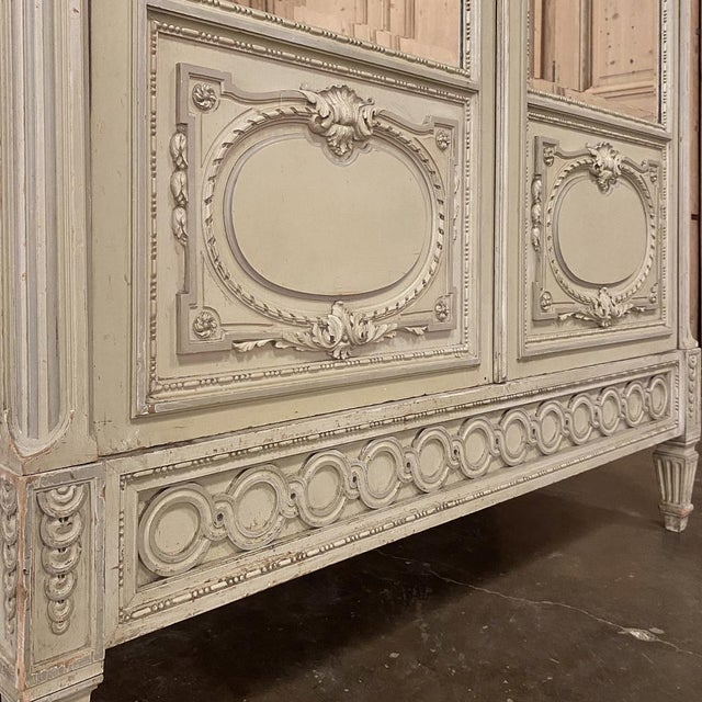 19th Century French Louis XVI Painted Armoire For Sale - Image 10 of 13