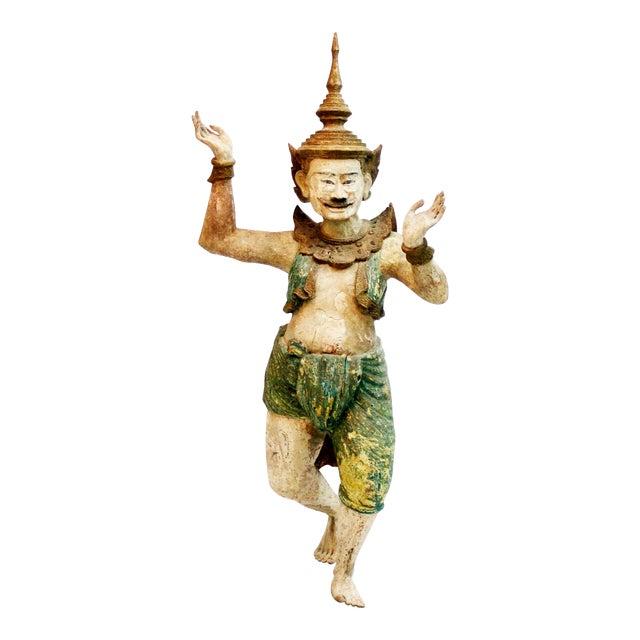 Wooden Burmese Standing Nat Spirit For Sale