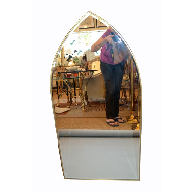 Italian Gothic Arch Brass Wall Mirror Hollywood Regency For Sale In Miami - Image 6 of 13