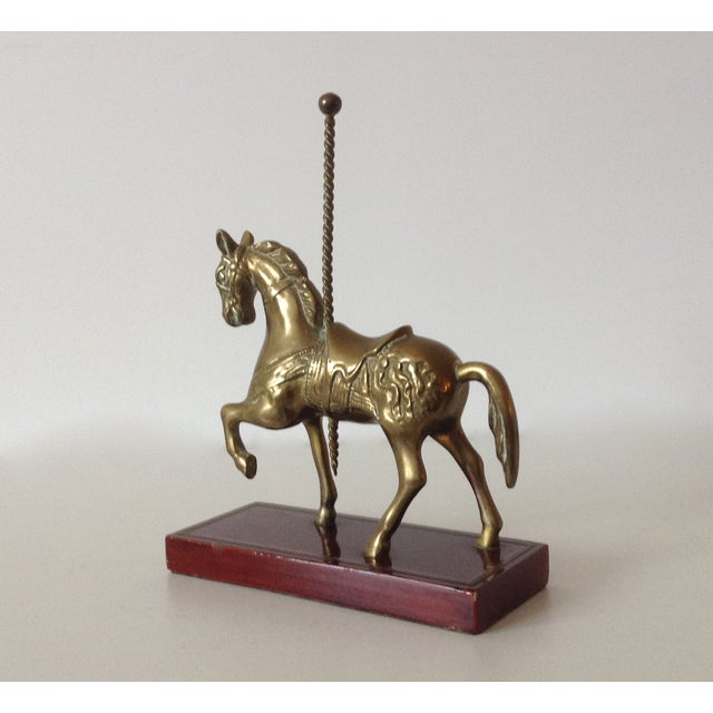Brass Carousel Horse Accent Bookend For Sale In West Palm - Image 6 of 9