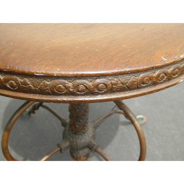 Metal Vintage 1950's Spanish Style Ornate Wrought Iron Swivel Stool For Sale - Image 7 of 13