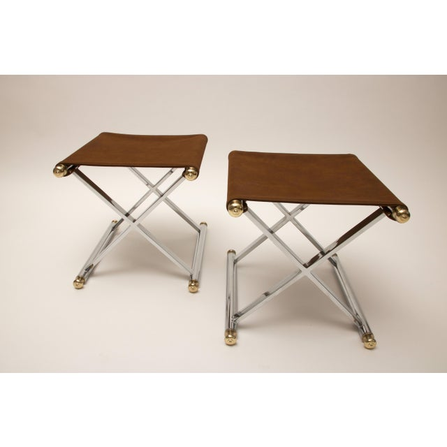 Pair of Hollywood-Regency X-Base Stools, Polished Chrome, Brass and Faux Suede - Image 2 of 11
