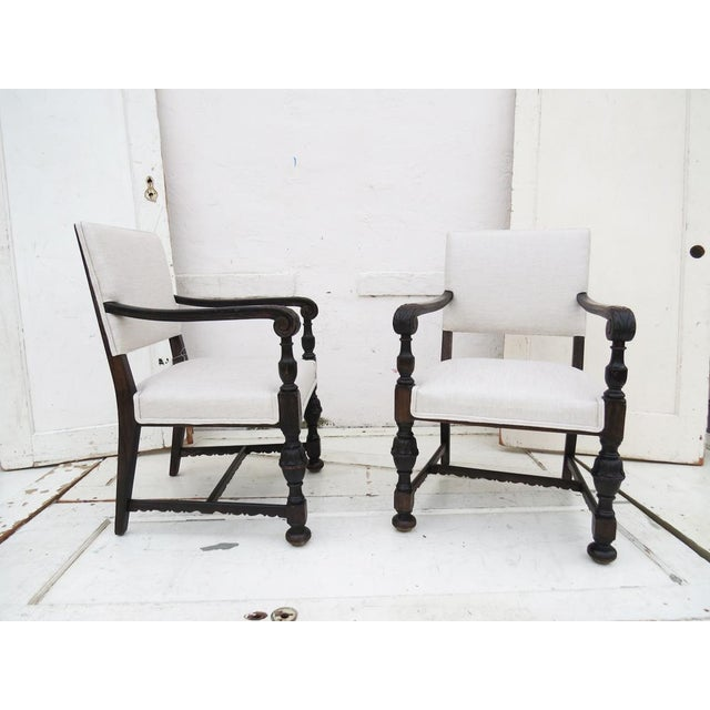 1930's Carved Wood Chairs - A Pair - Image 2 of 4