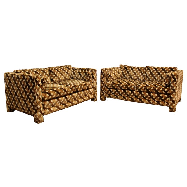 For your consideration is a magnificent pair of loveseats, with Jack Lenor Larsen style fabric, by Milo Baughman for...