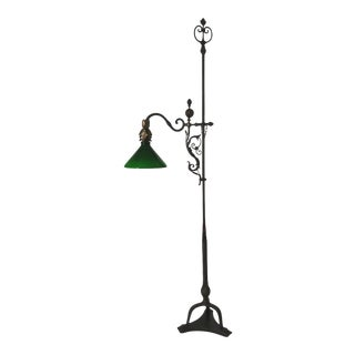 Antique 1920s Italian Wrought Iron Floor Lamp For Sale