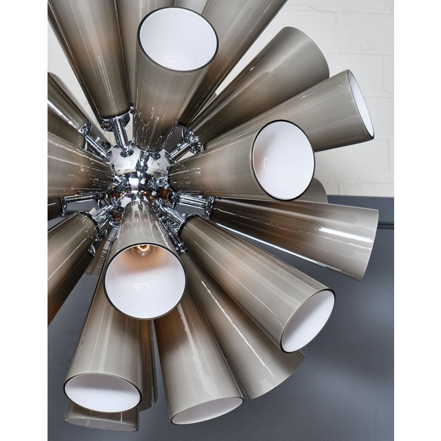 Metal Murano Glass Gray Sputnik Chandelier For Sale - Image 7 of 10