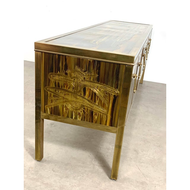 Bernhard Rohne Acid Etched Brass Credenza for Mastercraft 1970's For Sale In Detroit - Image 6 of 13