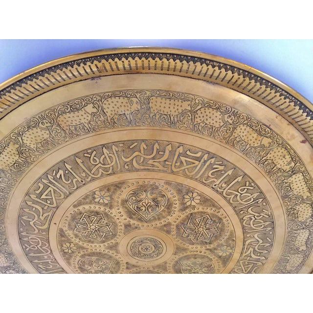 Brass Indo-Persian Handcrafted Decorative Hammered Brass Tray For Sale - Image 8 of 13