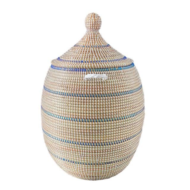 Beige Basket With Lid Senegal West Africa For Sale - Image 8 of 8