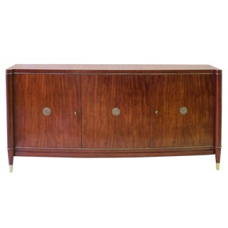 An Elegant and Exceptional Quality French 1940's 3-Door Tiger Mahogany Bowfront Sideboard For Sale