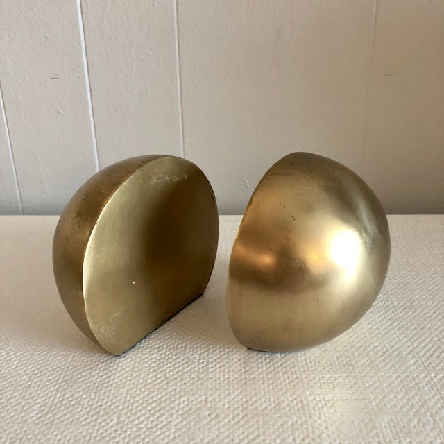 1980's Brass Mid Century Half Sphere Bookends - A Pair For Sale In West Palm - Image 6 of 6