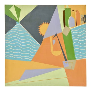 Vintage Geometric Abstract Haifa Israel Cityscape by Annette Robyns For Sale