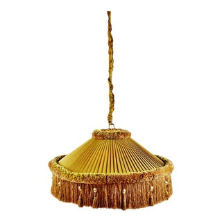 Vintage Large Scale Pleated Fabric W/ Fringe Decor Swag Pendant Light For Sale