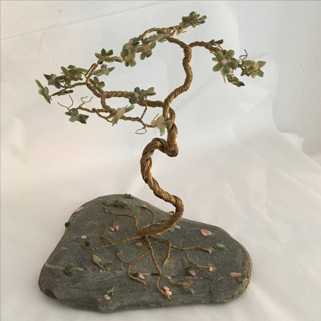 Vintage Hand Wired Tree on Stone - Image 2 of 6
