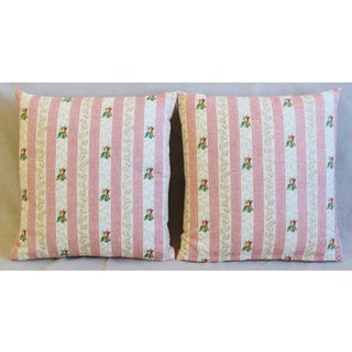 "Pink French Floral Stripe Rose Feather/Down Pillows 19"" Square - Pair Preview"
