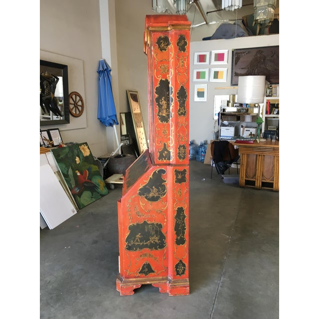 Hollywood Regency Secretary Desk Secretaire Bookcase W/ Chinese Motif For Sale - Image 9 of 11