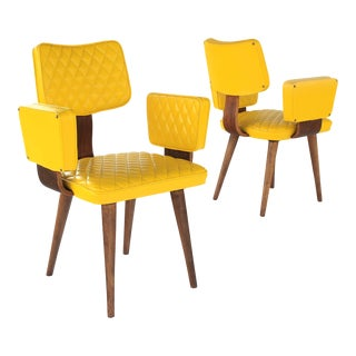 Mid Century Modern Thonet Style Yellow Bentwood Upholstered Armchairs - A Pair For Sale