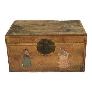 Circa 1900 Chinese Goatskin Box With Hand-Painted Decorations For Sale