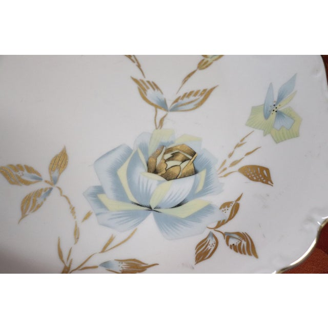 Hand Painted and Gold Porcelain Centerpiece by J Seltmann 2 Pieces, 1930s For Sale - Image 10 of 11