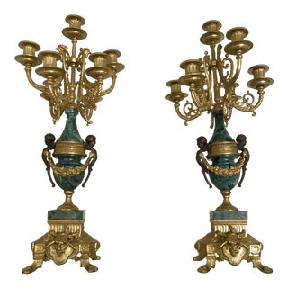 Italian Brevettato Marble & Brass Candelabras - a Pair For Sale