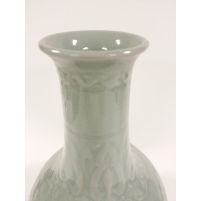 Floral Celadon Vases - A Pair - Image 4 of 6