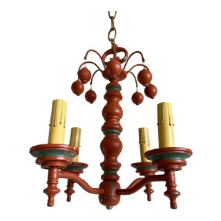 1950s Turned Wood Chandelier For Sale