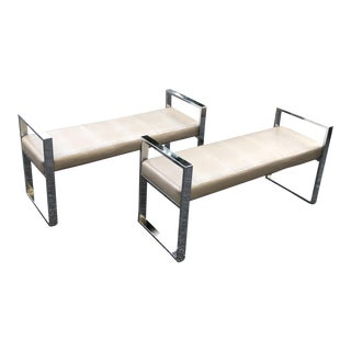 Chrome With Alligator Upholstery Benches - a Pair