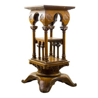 19th C. Irish Style Fruitwood Carved Swivel Occasional Side Table For Sale