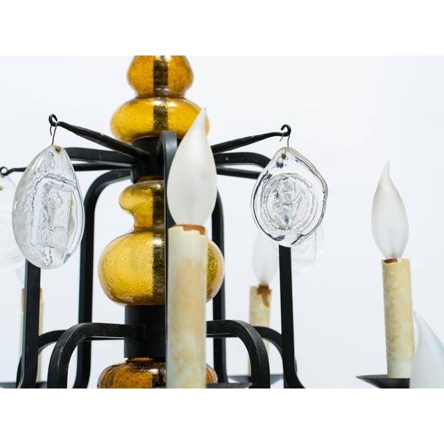 1960s Erik Hoglund Art Glass Chandelier For Sale - Image 5 of 11