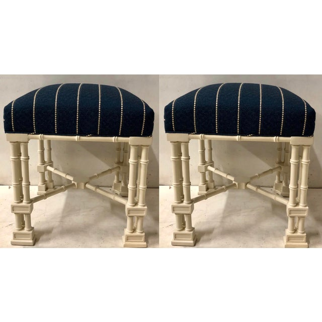 Blue Pair Erwin Lambeth Chippendale Style Ottomans For Sale - Image 8 of 9