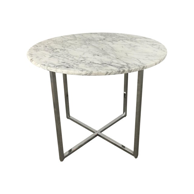 Marble Side Table with Chrome Base For Sale