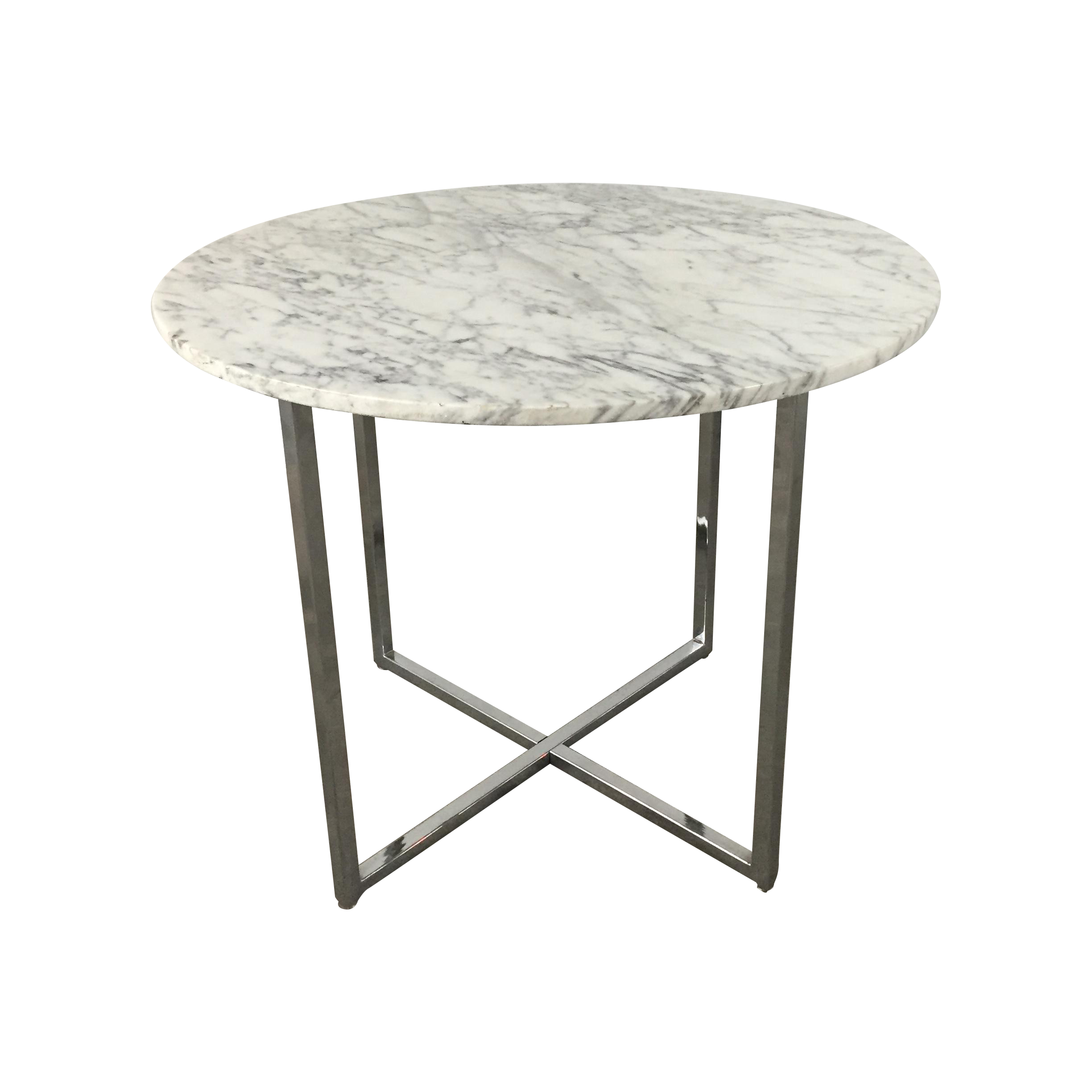 Marble Side Table With Chrome Base