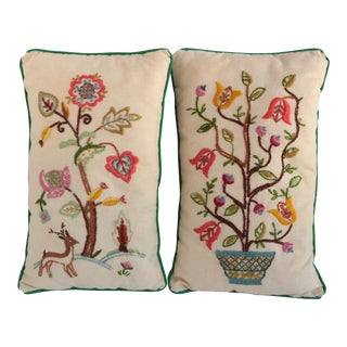 Jacobean Crewel Embroidered Accent Pillows - A Pair