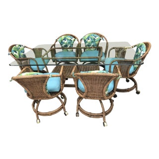 Mid-Century Brown Wrapped Rattan Dining Set