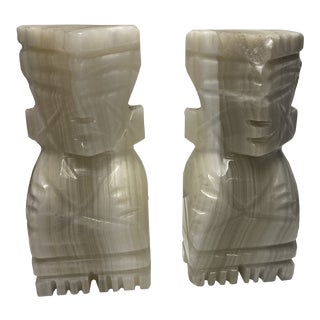 Carved Stone Bookends - a Pair For Sale