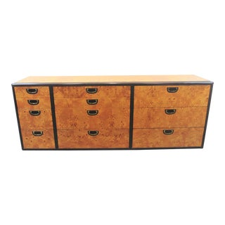 Lane Milo Baughman Burled Olive-Wood Dresser For Sale