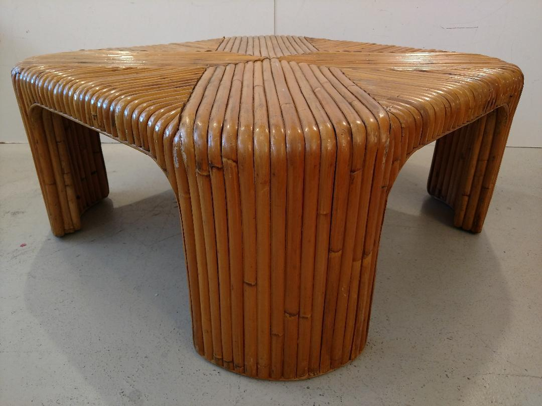 Mid 20th Century Mid Century Bent Waterfall Rattan Cocktail Table For Sale    Image 5