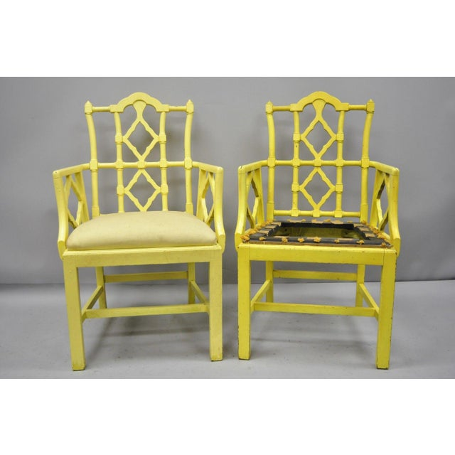 Asian Chinoiserie Hollywood Regency Yellow Fretwork Armchairs - a Pair For Sale - Image 3 of 11