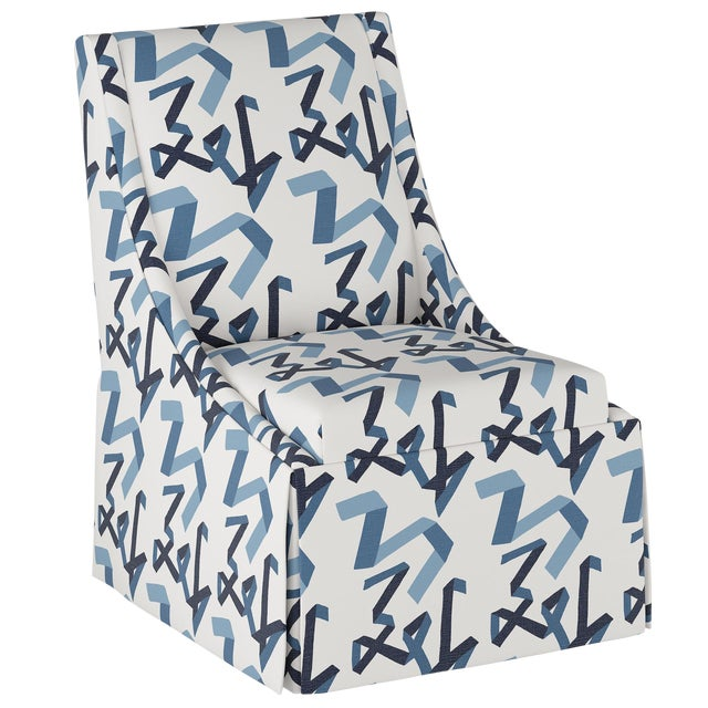 Skirted Accent Chair in Navy Ribbon by Angela Chrusciaki Blehm for Chairish For Sale